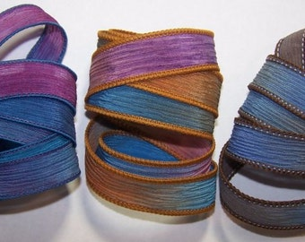 3 Pack Special Sale/Silk Ribbons/Hand Dyed/Wrist Wraps/Sassy Silks/Ready to Ship/ See Description for Details/101-0414