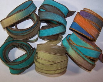 Discontinued/Experimental Ribbons/ Sassy Silks Hand Painted/Dyed Ribbons  Lot 100-0699