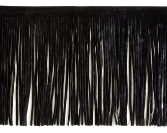 "Black Leather Fringe 36"" x 6"" Top Grain Supple Leather"