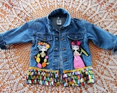 Frida Jean Jacket Size Three / Girls Denim Boho Clothing / Toddler Chambray Fashion / Day of the Dead