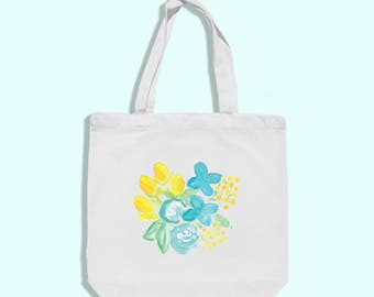 watercolor tote - watercolor floral tote - watercolor flower tote - watercolor art bag - artist bag - yellow and blue bag - watercolor bag