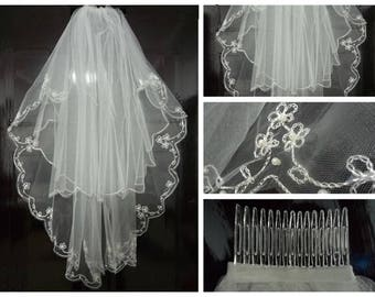 White or Ivory 2T Beaded Edge Bridal wedding veil with comb