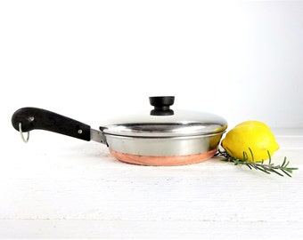Vintage Copper Bottom Revere Ware Covered Fry Pan