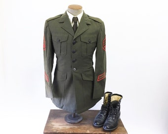 Vintage United States Marine Corps Green Military Dress Uniform Jacket Mens 100% Wool Serge USMC Jacket - Size 38 (MEDIUM)