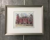 University of Arkansas Print- Old Main - Razorbacks UARK - Limited Edition 200 hand signed giclee print - Fayetteville AR Big Red Tusk Art