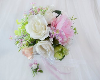Round wedding bouquet, Shabby chic bride bouquet, White and peach roses, peony bouquet, Nosegay bouquet wedding, Bride silk flower bouquet