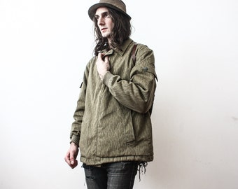 Vintage Parka Winter Coat Army Military 1980s Camouflage Warm Jacket Outerwear OverCoat Men Fleeced
