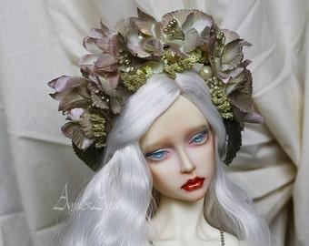 Soft Gold flower handmade headband wreath corolla for bjd dollfie sd 8-10 inch size dolls heads