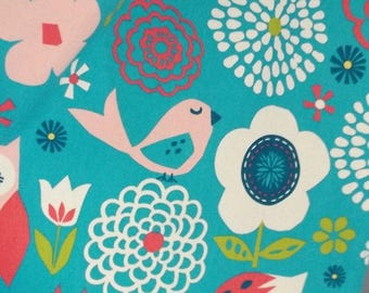 Doodles Dot to Dot Floral Print Fabric with Owls, Foxes and Bugs Aqua Blue Background & Pink Ties - Very nice quality - Sold by  half yard.