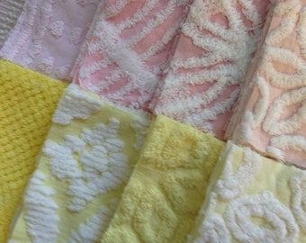 50 Pink and Yellow Vintage Chenille Six-inch Quilt Squares Kit