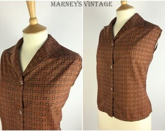 "Vintage 1950s Top - 50s Copper Geometric Blouse - Button Up Shirt - Sleeveless Top - Pinup Rockabilly - UK 16-18 Large Bust 42"" -"