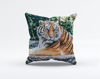 Tiger Pillow Cover 15 x 15 inch, Wild cushion cover, Decorative Pillow Cover, Home decor