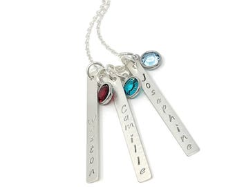 Silver Name Bar Necklace with Birthstones - Hand Stamped Custom Jewelry - Personalized Vertical Bar Necklace