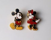 Walt Disney Micky Mouse & Minnie Mouse Pins, Classic Collectible, Red Shorts, Dress, Pin Pair, Standing