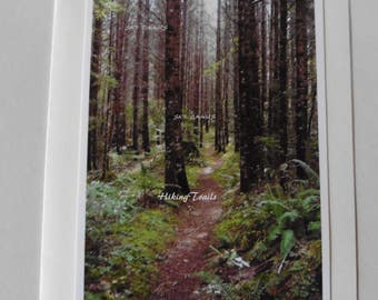 Photo Note Card, Forest Trail, forest decor, wooded path decor,forest wall art,woodland, Oregon forest, tree decor, Fine Art Photography