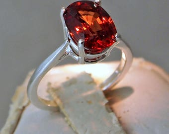 Orange Peach Zircon Ring, 3.37 Carat, Oval Cut Sterling Silver Ring, Size 5