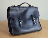 Vintage Roots Black Leather Briefcase Made in Canada