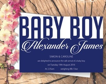 Personalised New Baby announcement card - text design