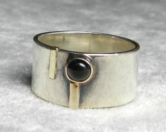 Modernist Sterling Ring Vintage Antique Hand Wrought Ring Garnet Cabochon Arts Crafts Era Ring .925 Sterling Silver Gold Accent Ring