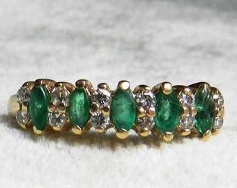 Emerald Ring 14K Emerald Wedding Band 14K Vintage Emerald Stacking Ring Diamond Emerald Wedding Band, May Birthday Gift for Women