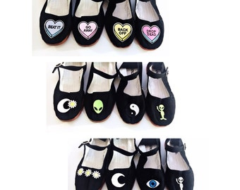 Chose your patches Mary Jane Shoes 90's  Any Size Limited Quanity