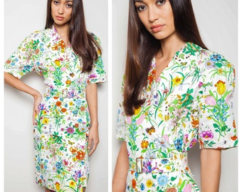 S.A.L.E  was 1000 now 800 iconic vintage 80s GUCCI Flora flower floral rainbow print shirt trench dress