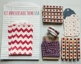 Gift wrapping, anniversary Kit, scrapbboking USA theme