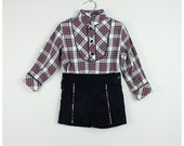 1X Boy red & grey houndstooth fabric  shorts piped in grey and a white  Mao collar shirt piped in grey - size 2