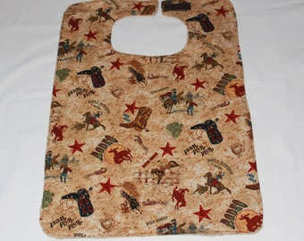 Unisex Adult Bib/Clothing Protector - Reversible - Terry Cloth/Cotton -  Wild West/Rodeo - Tan Adult Bib - Elderly Special Needs