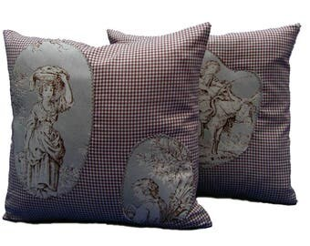 2 pillow toile de Jouy checkered
