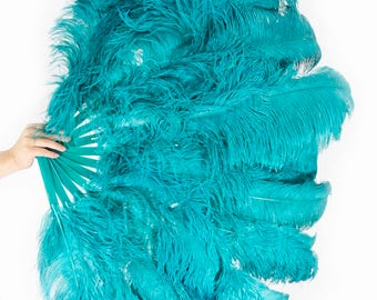 """Burlesque Dance teal 3 Layers Ostrich Feather Fan Opened 65"""" with gift box"""