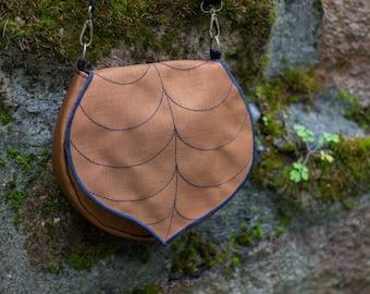 Coffee Brown Leaf Crossbody Bag, Spring Purse, clip on strap, Waterproof Crossbody Purse, Cordura Handbag, Satchel, Pouch, Leaf Saddle Bag