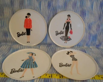"Four Barbie Plastic 5"" Plates"