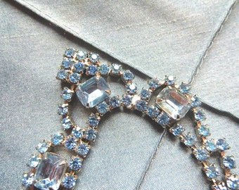 Blue Rhinestone Necklace or Choker with Three large Rhinestones