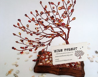 Weeping Willow Bonsai - Home Sculpture Tree Decoration / Business Card Holder Desktop - Made to order