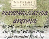 Personalization UPGRADE, extra text for your favorite TagsForTails listing