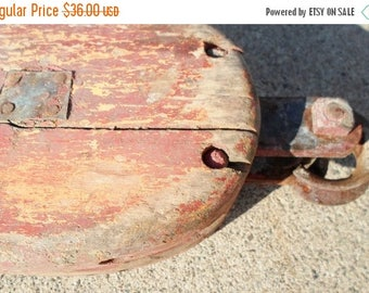 ON SALE Vintage Large Antique Primitive Nautical.Block And Tackle Wooden And Cast Iron, Pulley, Industerial, Red, Orange,Rust, Cottage Chic