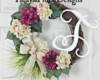 Hydrangea Wreath, Monogram Wreath, Letter Wreath, Spring Wreath, Summer Wreath, Door Wreath, Grapevine Wreath,  Everyday Wreath, Wreaths