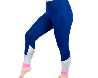 Holographic Leggings Navy Blue and Pink Yoga Pants with Metallic Panel Colorful Active Wear for Women