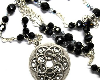 32  1/2 Inch Celtic Pendant, Jet Black Swarovski Crystals and Silver Plated Chain Necklace