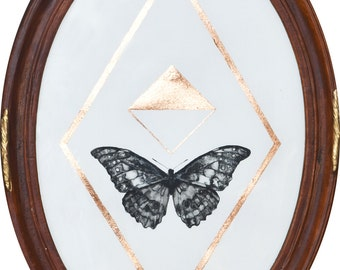 Original Painting in an Antique Convex Frame / Oval / Ink and Copper Leaf