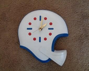 Vintage 1970's Ceramic Football Helmet Wall Clock