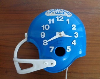 Vintage 1970's  Football Helmet Seagram's Gin Advertizing Wall Clock,Man Cave Clock,Sports Clock,Spartus Wall Clock