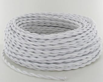 Pendant Light Cord Set (8-Foot) - White - Twisted Cotton Cloth-Covered Wire (2-Conductor)