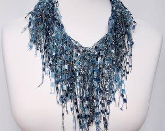 NAVY BLUE Infinity Scarf - Lightweight Circle Scarf - Dark Blue Textured Loop Scarf - Fashion Infinity Scarf