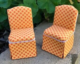 Retro Parsons Chair in Orange Polka Dots - Dollhouse Miniature