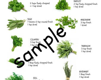 Herb Conversion Chart Laminated A4 Handy for the kitchen and wipe clean
