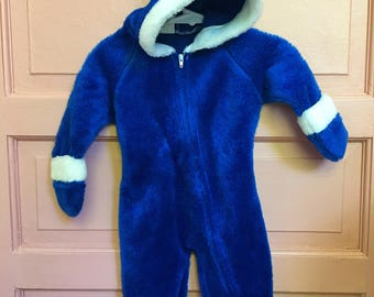 Vintage blue fuzzy baby winter suit / cozy one piece footed/ winter baby outfit sweater suit size 0-9M