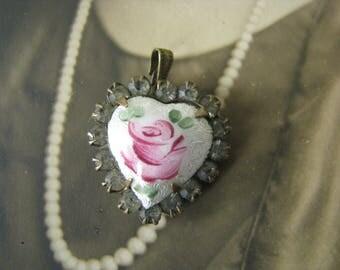 Antique Vintage Rose Gilloche Rhinestone Heart Pendant Wedding Jewelry Bridal Jewelry