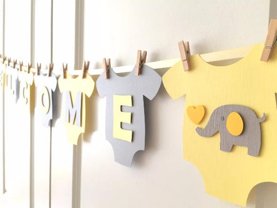 Baby one piece bodysut welcome baby gender neutral for Welcome home baby shower decorations